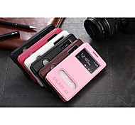 For Samsung Galaxy Case with Windows / Flip Case Full Body Case Solid Color PU Leather Samsung A5