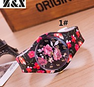 Women's Fashion Diamond Candy Color Flower Quartz Analog Silicone Wrist Watch(Assorted Colors)