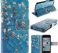 The Old Tree Flower Design PU Leather Full Body Case with Card Slot for iPhone 5C