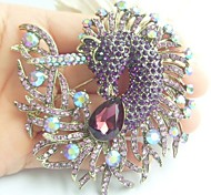 Women Accessories Gold-tone Purple Rhinestone Crystal Unicorn Horse Brooch Art Deco Scarf Brooch Pin Women Jewelry