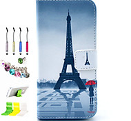 Tower Pattern PU All Inclusive With Slot Case and Stylus Pen Dust Plug Bracket Assembly for iPhone 6