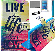 COCO FUN® Love Life Pattern PU Leather Case with Film and USB Cable and Stylus for Samsung GALAXY Grand Prime G530