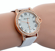 relógio pulseira de couro de crocodilo cristal de rocha de quartzo rodada de discagem do unisex (cores sortidas)
