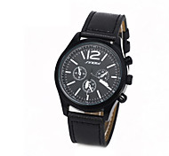 Men's Round Dial Case Leather Watch Brand Fashion Quartz Watch