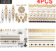 4 Pcs All Different Patterns Long Bracelet Tattoo Sticker 23x15.5CM