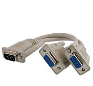 VGA SVGA 15 PIN Male to Dual 2 Female Monitor Adapter Y Splitter Cable Cord