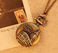 Small Size Analog Display Quartz Movement Bronze Vintage Antique Pocket Watches 78cm Chain Necklace Watch Steampunk