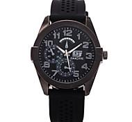 Men's Round Dial Case Rubber Watch Brand Fashion Quartz Watch(More Color Available)
