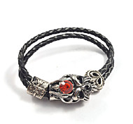 Gothic Men's Red Crystal Demon Buckle Leather Bracelets 1pc