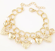 Fashion Trend Wild Love Heart Pendant Metal Bracelet