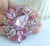 Women Accessories Gold-tone Pink Rhinestone Crystal Flower Brooch Art Deco Bridal Bouquet Women Jewelry