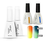 azur 4 pièces / lot gel uv changement de couleur de vernis Soak-Off nail art (12ml, # 01 + # 11 + base + haut)