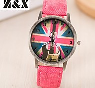 Women's Fashion Diamond Colorful Flag Design Quartz Analog Denim Cloth Band Wrist Watch(Assorted Colors) Cool Watches Unique Watches