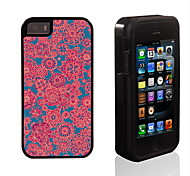 Red Floret Pattern 2 in 1 Hybrid Armor Full-Body Dual Layer Shock-Protector Slim Case for iPhone 5/5S