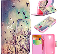 Autumn Birds Pattern with Card Bag Full Body Case for Samsung Galaxy S4 Mini I9190