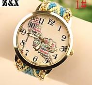 Women's Fashion Diamond Lovely Words High Heels Weaving Wool Band Quartz Analog Wrist Watch(Assorted Colors)