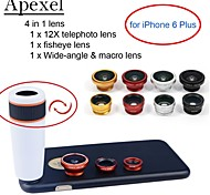 Apexel 4 in 1 Lens Kit 12X White Telephoto Lens+Fisheye Lens+Wide-angle+Macro Camera Lens with Case for iPhone 6 Plus