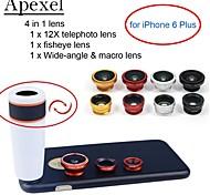 apexel 4 em 1 kit de lente de 12x branco lente teleobjetiva lente olho de peixe + + + grande angular macro lente da câmera com caso para