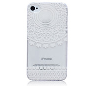 Lace Flowers Pattern TPU Soft Back Cover Case for iPhone 4/4S