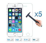 Qualité 5pcs verre trempé protecteur d'écran du film pour Apple iPhone 5 5s