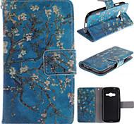 diseño de flor de albaricoque de la PU de cuero de cuerpo completo funda protectora con soporte para para Samsung Galaxy Ace 4 g313h