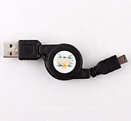 Mini USB 2.0 to USB 2.0 Male Retractable Data Sync Charger Cable Black