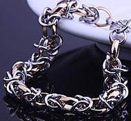 Lureme® Fashion Man's Titanium Steel Gold Silver Chain&Link Bracelets