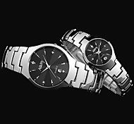 Watches Lovers' Tungsten Steel Quartz Watch Calendar Display Women Rhinestone Watches Men & Women Wristwatches NARY