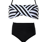 Striped waist Sexy Swimsuit With a Chest Pad  Without Steel Ring