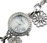 vendita calda, vigilanza di signora diamante rotondo del fiore quadrante dell'orologio braccialetto elastico di diamanti bcdzz donne