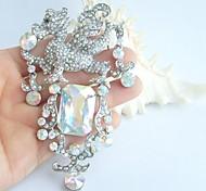 Women Accessories Silver-tone AB Clear Rhinestone Crystal Dragon Brooch Art Deco Crystal Brooch Pin