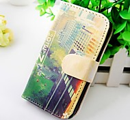 Building Around the Room Wallet Stand PU Leather Case For Samsung Galaxy S2 SII I9100