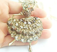 Women Accessories Gold-tone Topaz Rhinestone Crystal Brooch Art Deco Crystal Dancing Girl Brooch Women Jewelry
