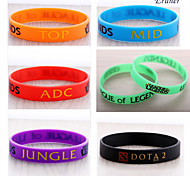 Euner® LOL, League of Legend Wristband, Silicon Bracelet with ADC, JUNGLE, MID, SUPPORT, DOTA 2 Printed Band