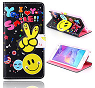 sorrir padrão preto de couro pu caso de corpo inteiro com slot para cartão e stand para Samsung Galaxy n9100 Nota4