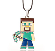 Vilam® MineCraft Green Cubic Miner Zinc Alloy with Dripping Oil Pendant Necklace