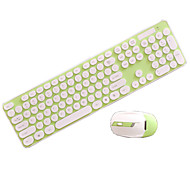 Mute Round Buttons Wireless Keyboard And Mouse Set Chocolate