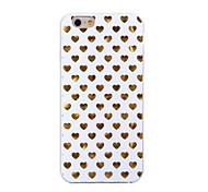 patrón de corazón de oro TPU caleta vuelta suave para el iphone 6