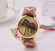 2015 Fashion New Women Watches Gold Wristwatch Ladies Quartz Watches Geneva Handmade Weave Braided  Zebra  Bracelet