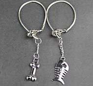 Alloy Fishbone Head Lovers Key Chain