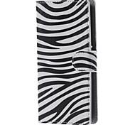 estojo de couro pu listras da zebra carteira com slots de stands e cartão para lg leon 4G LTE h340n