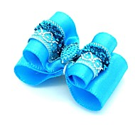 Lovely Blue Rhinestone Decorated Rubber Band Hair Bow for Pet Dogs