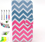 Waves Pattern PU All Inclusive With Slot Case and Stylus Pen Dust Plug Bracket Assembly for iPhone 6