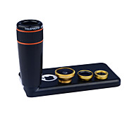 apexel 4 in 1 Objektiv-Kit 8x schwarz Teleskop-Objektiv + Fisheye-Objektiv + Weitwinkel + macro Objektiv mit für iphone 5c