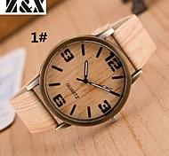 relógio de grãos de quartzo digital de quatro denim pano analógico pulseira de madeira moda feminina (cores sortidas)