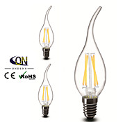 3PCS ONDENN E12 4 W 4 COB 400 LM 2800-3200K K Warm White A Dimmable Candle Bulbs AC 110-130 V