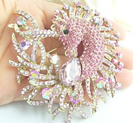 Women Accessories Gold-tone Pink Rhinestone Crystal Unicorn Horse Brooch Art Deco Scarf Brooch Pin Women Jewelry
