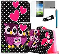 estojo de couro pu Coco padrão da coruja fun® dormir com filme e cabo USB e caneta para Samsung Galaxy a5 / A5000