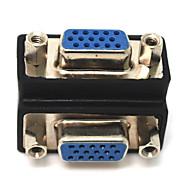 90 Degree VGA 15 Pin Female to Female F/F Cord Monitor Converter Adapter