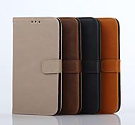 Для Кейс для  Samsung Galaxy Кошелек / Бумажник для карт / со стендом / Флип Кейс для Чехол Кейс для Один цвет Твердый Натуральная кожа